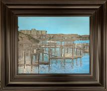 RJ - Harbor Piers 1 - Framed - Original Oil on canvas