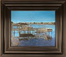 RJ - Harbor Piers 2 - Framed - Original Oil on canvas