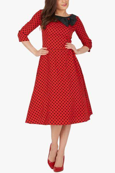 'Iris' 50's Polka Dot Collared Dress - Red Black