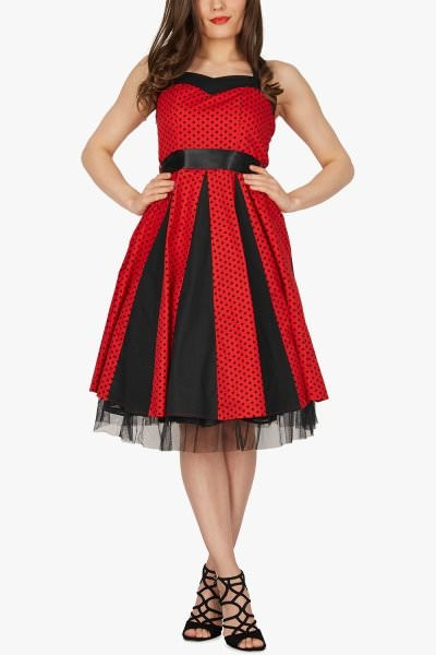 'Ivy' 50's Polka Dot Swing Dress - Red