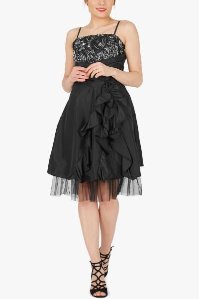 'April' Satin Bliss Waterfall Dress - Black