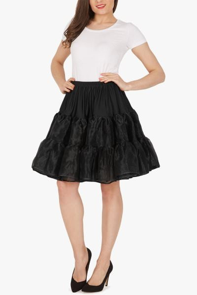 20 Inches Long Organza Petticoat Skirt - Black
