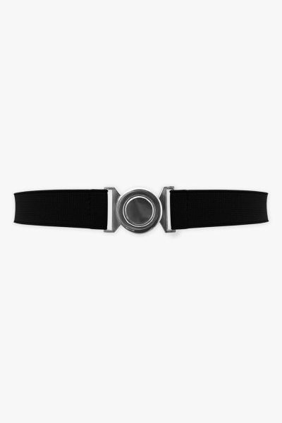 1 Inch Wide Elastic Round Buckle Belt - Black