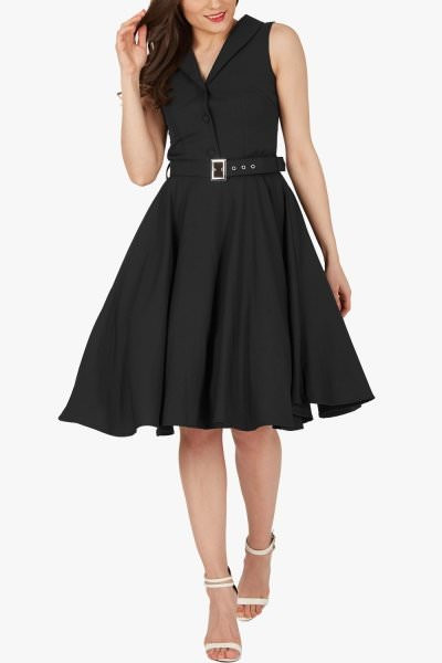 'Luna' Retro Clarity 50's Dress - Black
