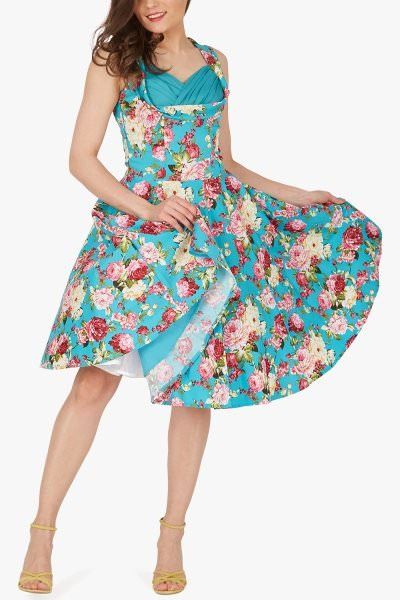 'Aura' Classic Divinity 50's Dress - Turquoise