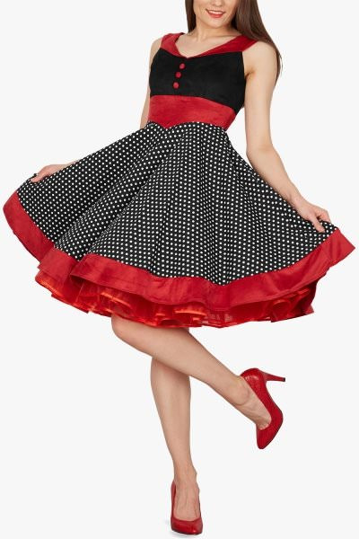 'Sylvia' Vintage Polka Dot Pin-up Dress - Black