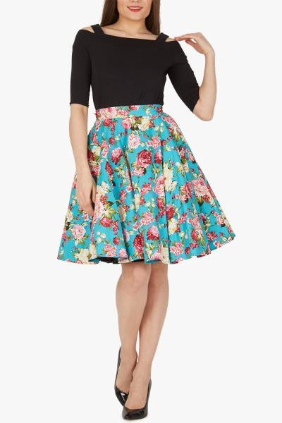 Floral Vintage Rockabilly Divinity 1950's Skirt - Turquoise