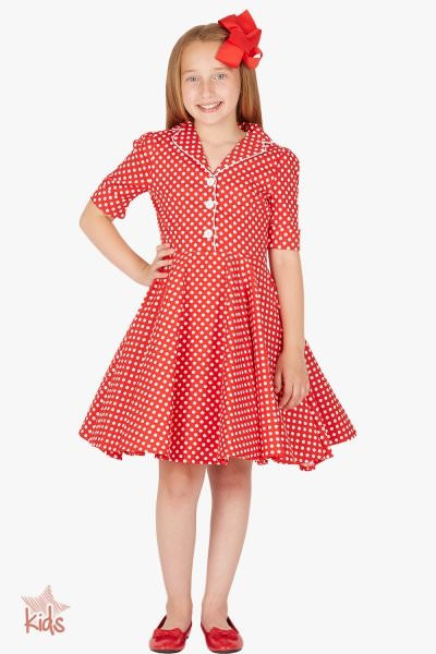 Kids 'Sabrina' Vintage Polka Dot 50's Dress - Red