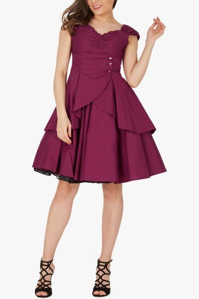 'Alvira' Vintage Clarity 50's Dress - Plum Purple