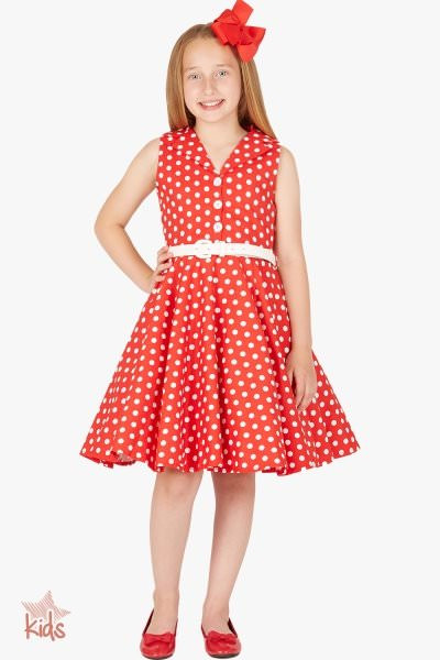 Kids 'Holly' Vintage Polka Dot 50's Dress - Red