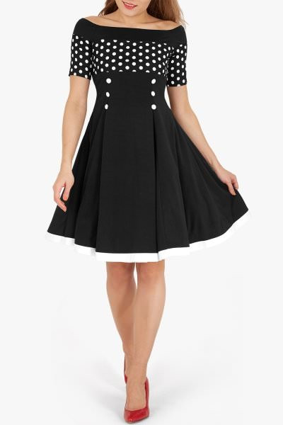 'Penny' Vintage Polka Dot Pin Up Dress - Black