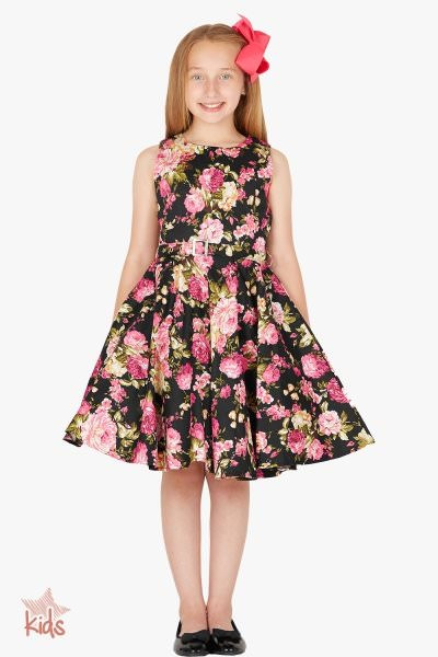 Kids 'Audrey' Vintage Divinity 50's Dress - Black