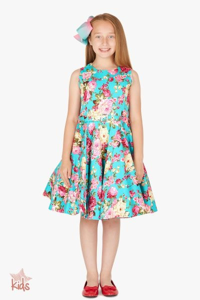 Kids 'Audrey' Vintage Divinity 50's Dress - Turquoise
