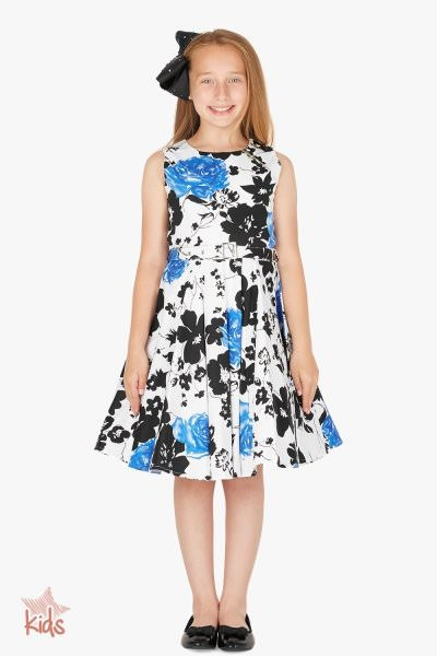 Kids 'Audrey' Vintage Serenity 50's Dress - Blue
