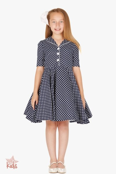 Kids 'Sabrina' Vintage Polka Dot 50's Dress - Midnight Blue