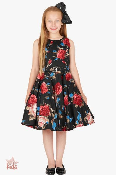 Kids 'Audrey' Vintage Mercy 50's Dress - Black Red
