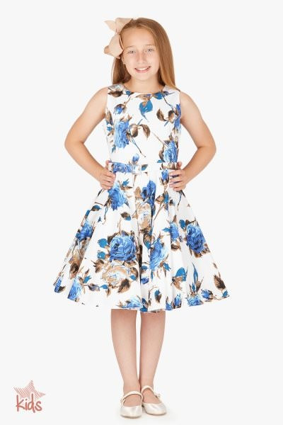 Kids 'Audrey' Vintage Mercy 50's Dress - White Blue