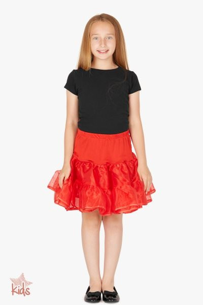 Kids Organza Petticoat Skirt - Red