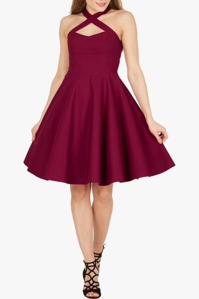 'Sophie' Classic Clarity 50's Dress - Plum Purple
