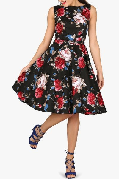 'Audrey' Vintage Mercy 50's Dress - Black Red