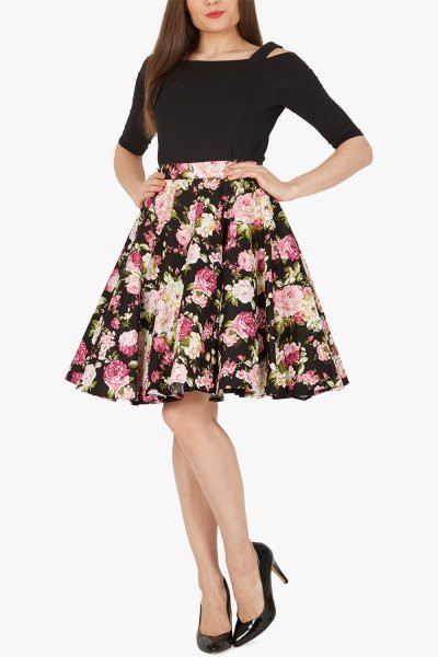 Floral Vintage Rockabilly Divinity 1950's Skirt - Black