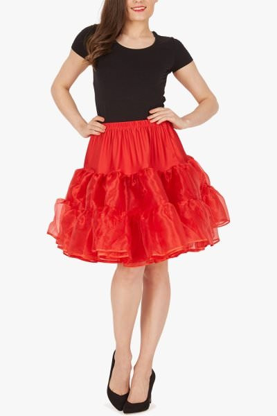 20 Inches Long Organza Petticoat Skirt - Red