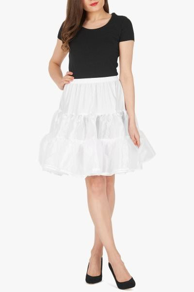 20 Inches Long Organza Petticoat Skirt - White