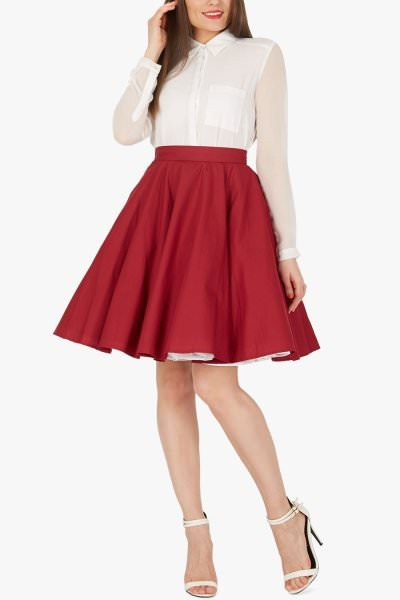 Vintage Rockabilly Full Circle 1950's Skirt - Burgundy