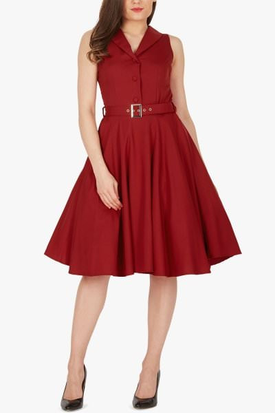 'Luna' Retro Clarity 50's Dress - Burgundy