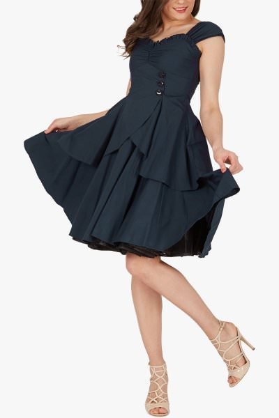 'Alvira' Vintage Clarity 50's Dress - Midnight Blue
