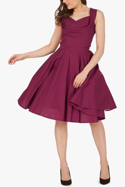 'Aura' Classic Clarity 50's Dress - Plum Purple
