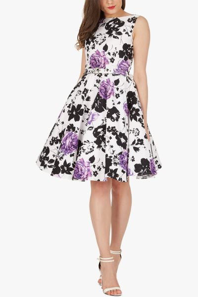 'Audrey' Vintage Serenity 50's Dress - Purple
