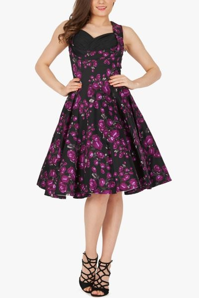 'Aura' Classic Harmony 50's Dress - Purple