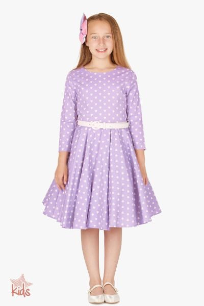 Kids 'Chloe' Vintage Hearts 50's Dress - Purple