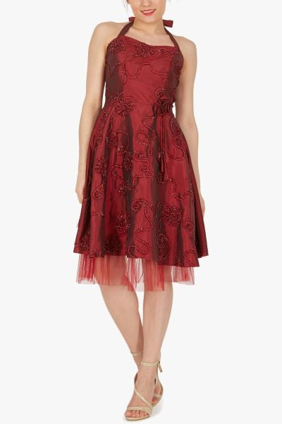 'Rita' Floral Cherish Prom Dress - Burgundy
