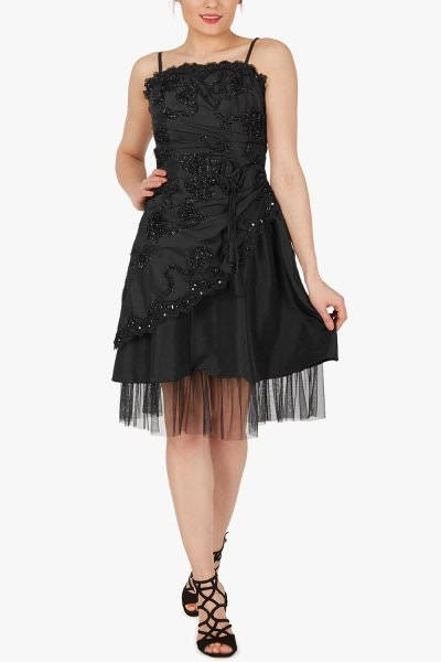 'Opal' Satin Cherish Jewel Dress - Black