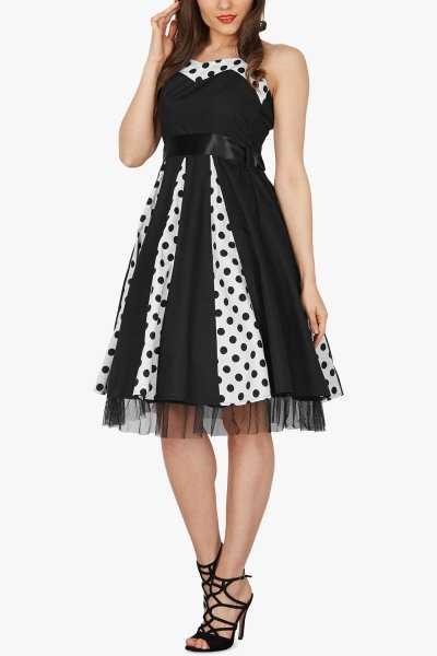 'Ivy' 50's Polka Dot Swing Dress - Black (Large Dots)