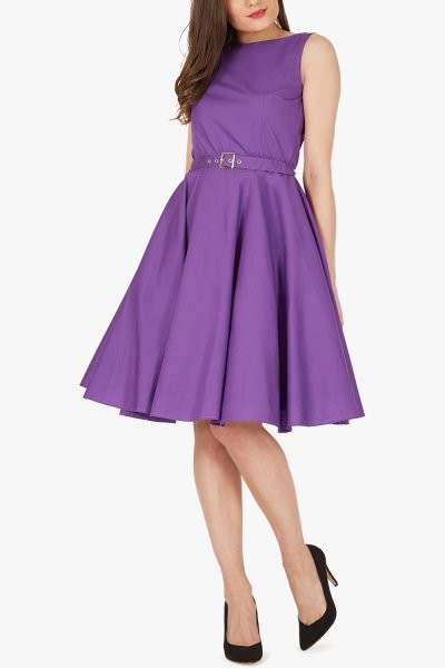 'Audrey' Vintage Clarity 50's Dress - Cadbury Purple