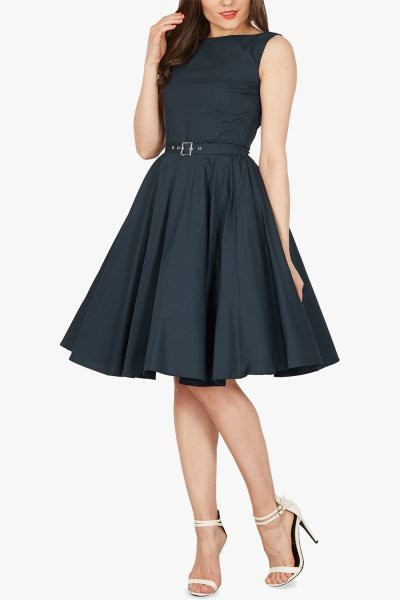 'Audrey' Vintage Clarity 50's Dress - Midnight Blue