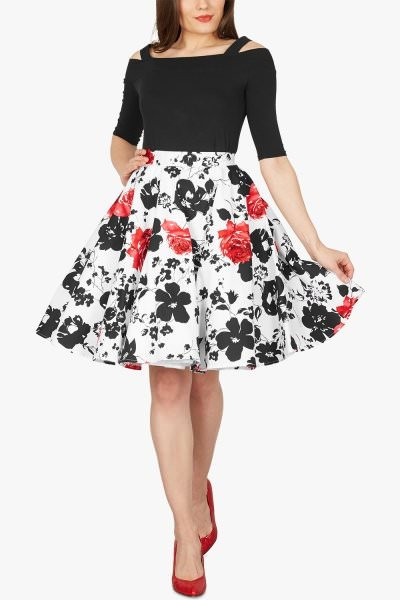 Floral Vintage Rockabilly Serenity 1950's Skirt - Red