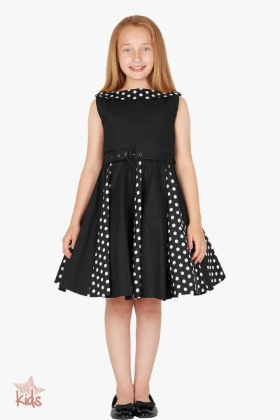 Kids 'Alexia' Vintage Polka Dot 50's Dress - Black