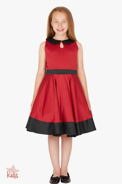 Kids 'Zoey' Vintage Clarity 50's Dress - Red