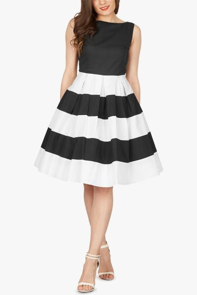 'Lilly' Vintage Striped Pin Up Dress - Black