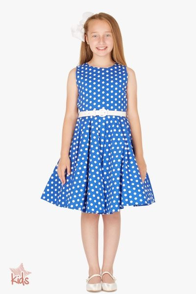 Kids 'Audrey' Vintage Polka Dot 50's Dress - Royal Blue