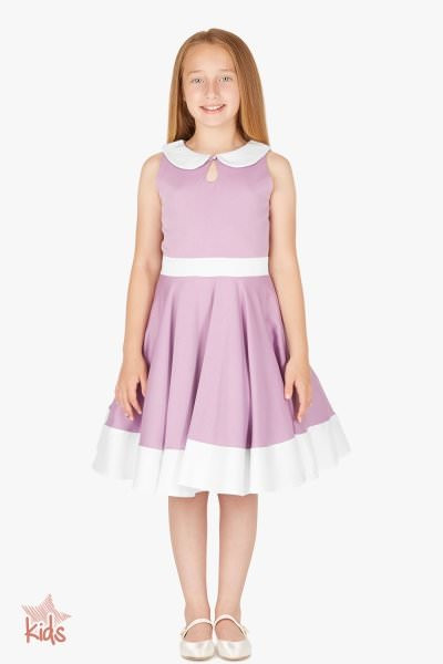 Kids 'Zoey' Vintage Clarity 50's Dress - Lilac