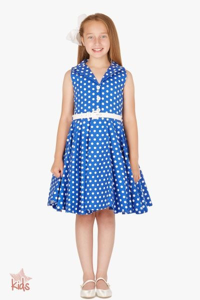 Kids 'Holly' Vintage Polka Dot 50's Dress - Royal Blue