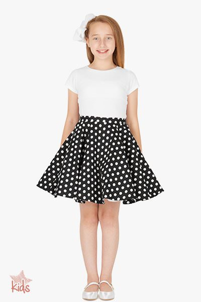 Kids Vintage 50's Swing Skirt - Polka Dot - Black