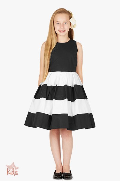 Kids 'Lilly' Vintage Striped 50's Dress - Black