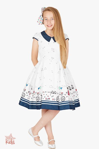 Kids 'Olivia' Vintage Sunshine 50's Dress - White