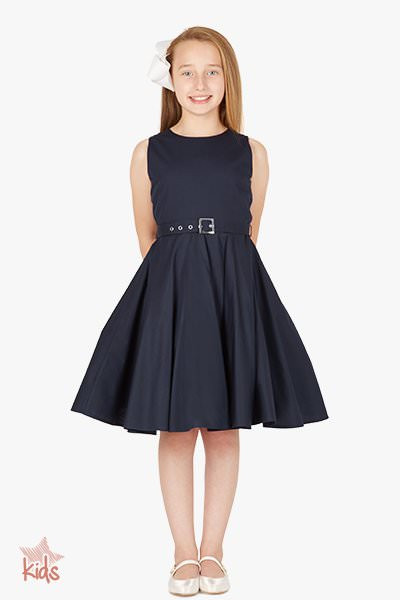 Kids 'Audrey' Vintage Clarity 50's Dress - Midnight Blue